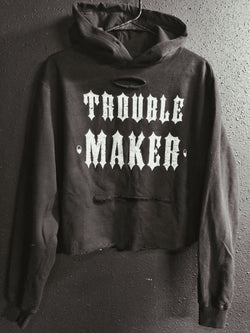 Trouble Maker Crop Hoodie - Black - 125/Crop