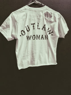 52- Outlaw Woman Crop Top - White