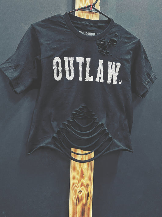 45- Outlaw Crop Top belly -Black