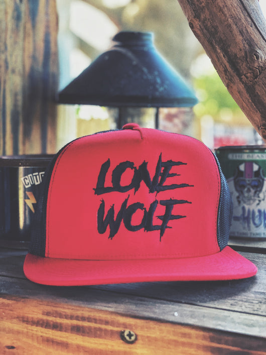 510- Lone Wolf Trucker Hat - Red/Black