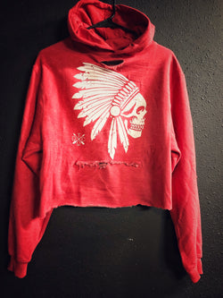 Apache Crop Hoodie - Heather Red - 128/Crop