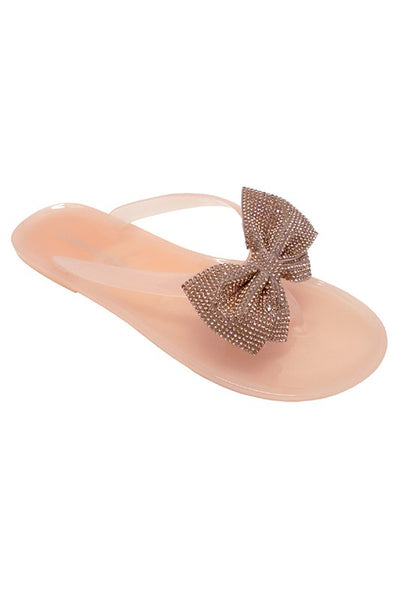Women's Rhinestone Bow Sandals in Nude | Smith & Angie Boutique