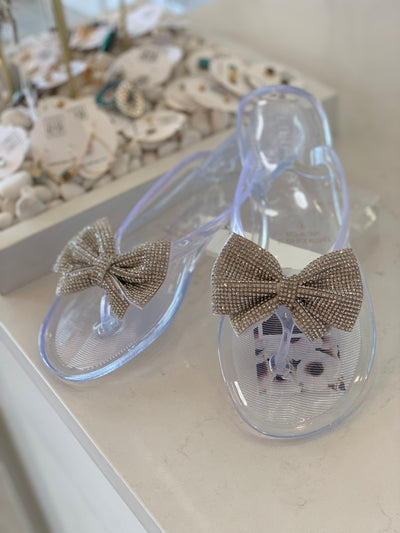 Women's Rhinestone Bow Sandals in Clear | Smith & Angie Boutique
