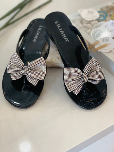Women's Rhinestone Bow Sandals in Black | Smith & Angie Boutique