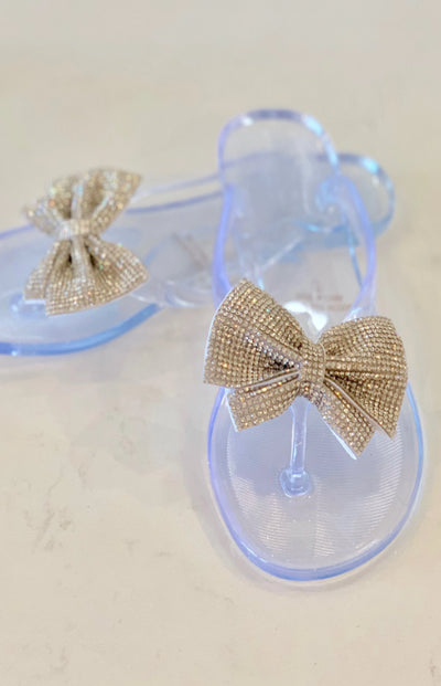 Women's Rhinestone Bow Sandals - Clear - Smith & Angie Boutique
