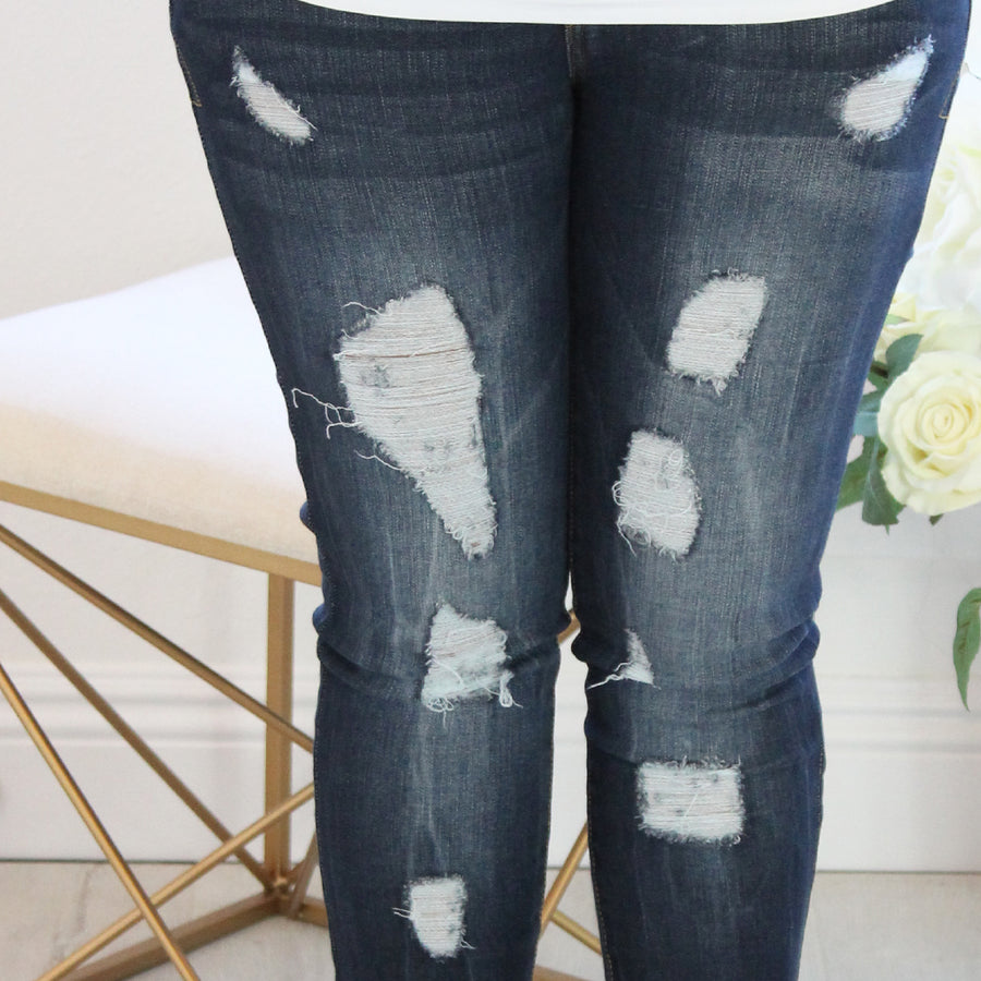 Amber - Medium Wash Distressed Denim