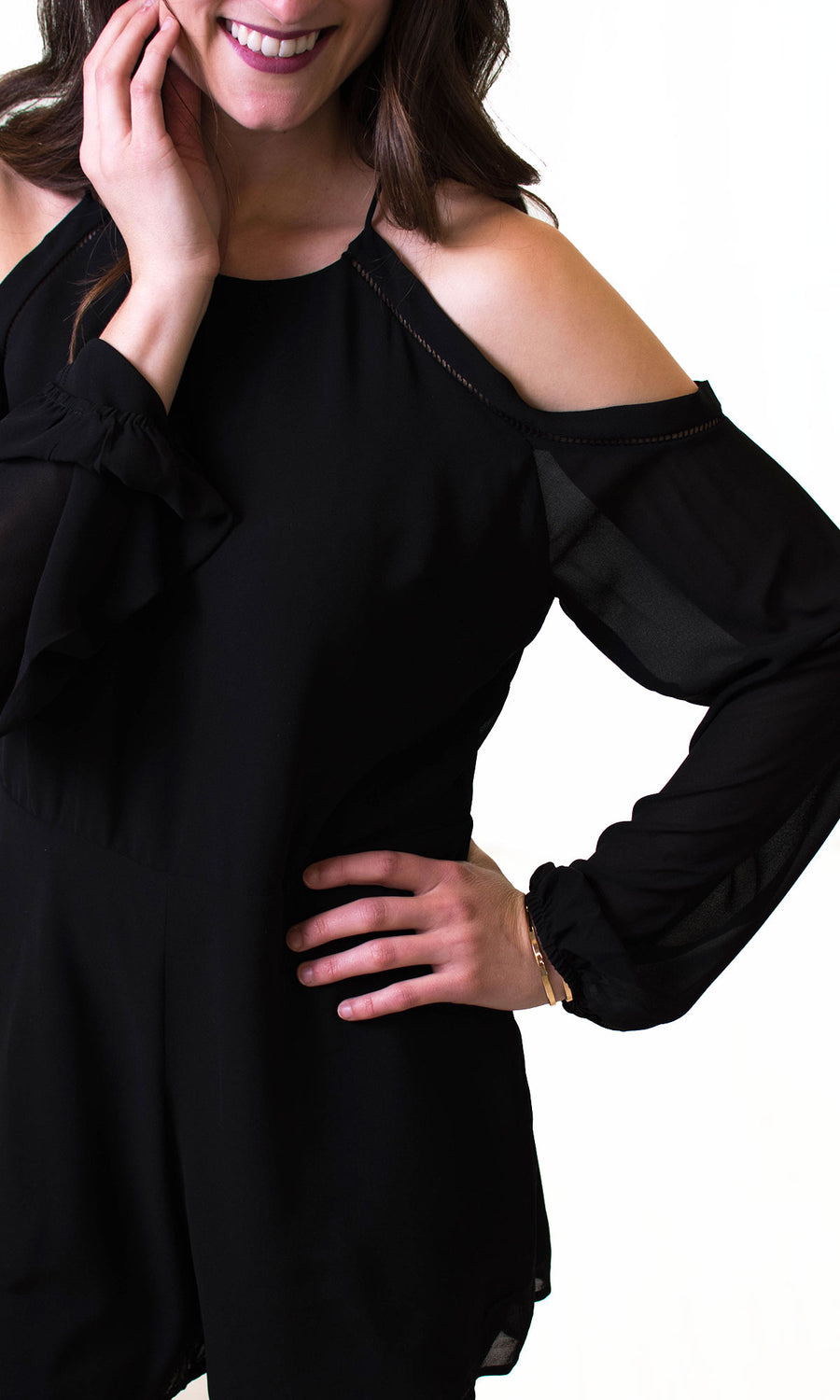 Women's Black Cold Shoulder Romper - Smith & Angie Boutique