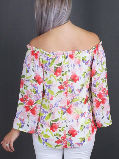 Women's Floral Off Shoulder Top - Smith & Angie Boutique