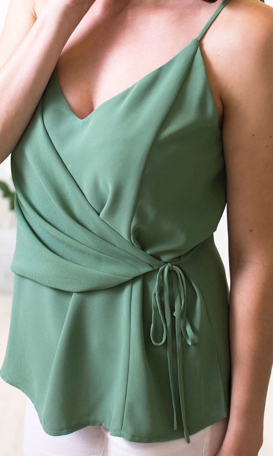 Women's Green Wrap Top - Smith & Angie Boutique