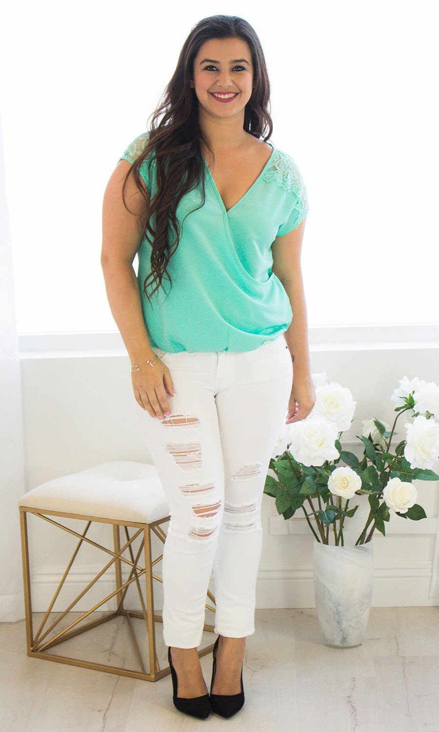 Women's Mint Lace Top - Smith & Angie Boutique