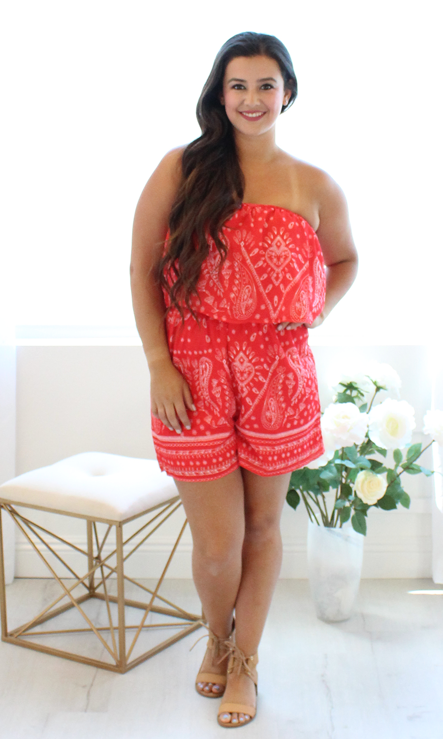 Women's Red Bandana Romper - Smith & Angie Boutique