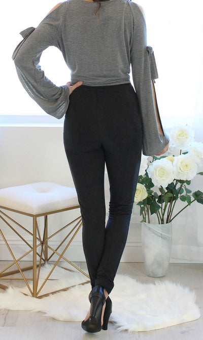 Women's High Waist Suede Legging Pant - Smith & Angie Boutique