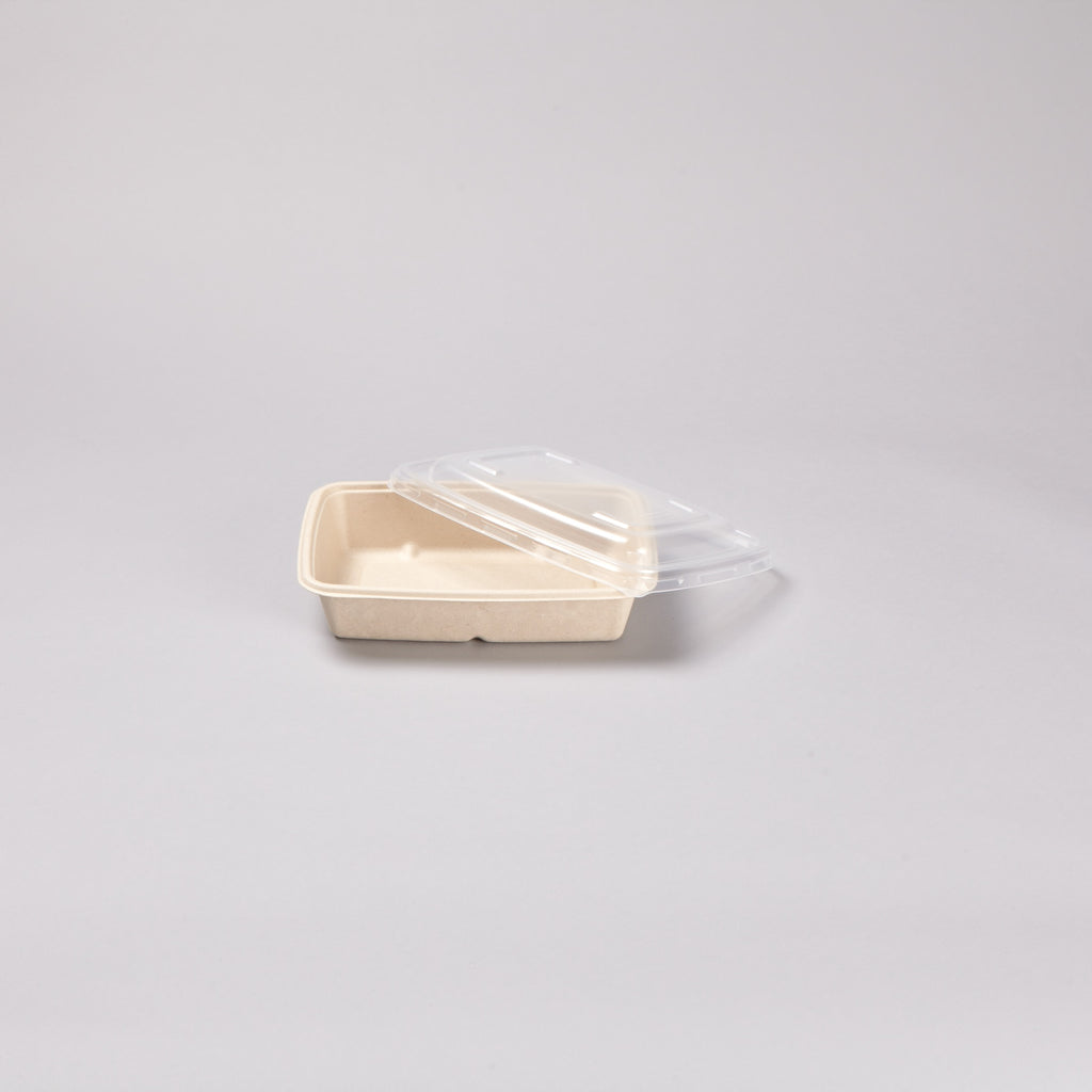 RPET lid for 950ml BePulp Rectangular Bagasse (taco)