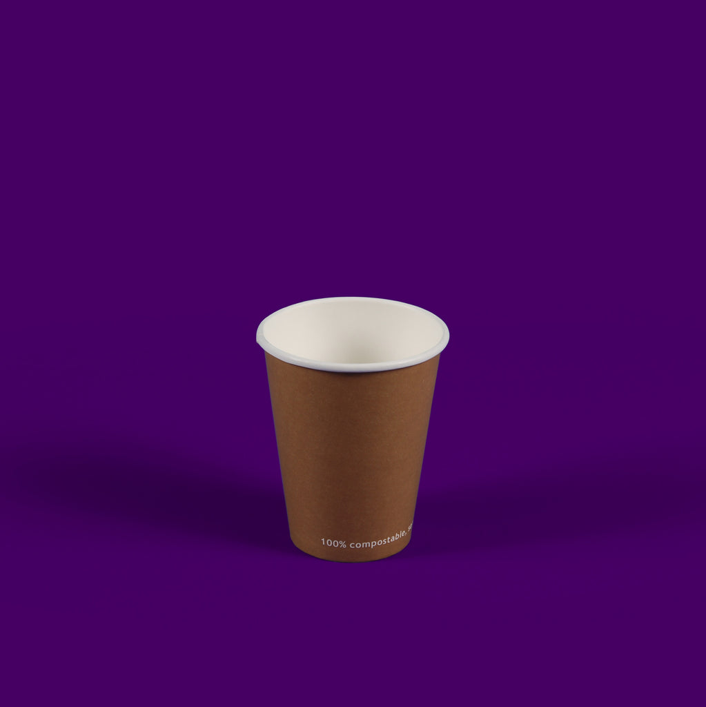 8oz Kraft Single Wall Compostable Hot Cups