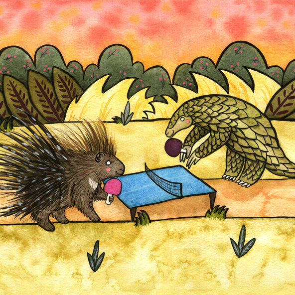 Porcupine & Pangolin Playing Ping Pong