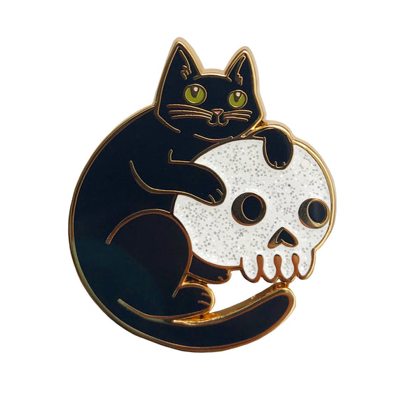 Cat and Skull Enamel Pin with Glitter