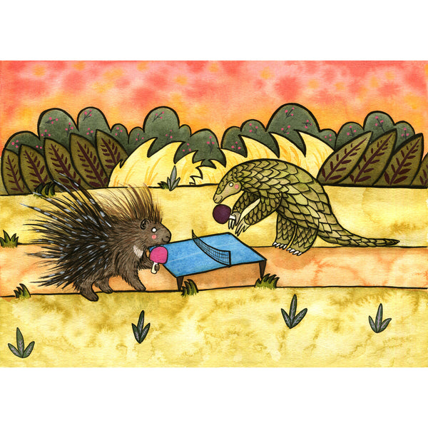 Pangolin and Porcupine Playing Ping Pong