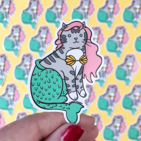 Pinky Mermaid Cat Vinyl Sticker