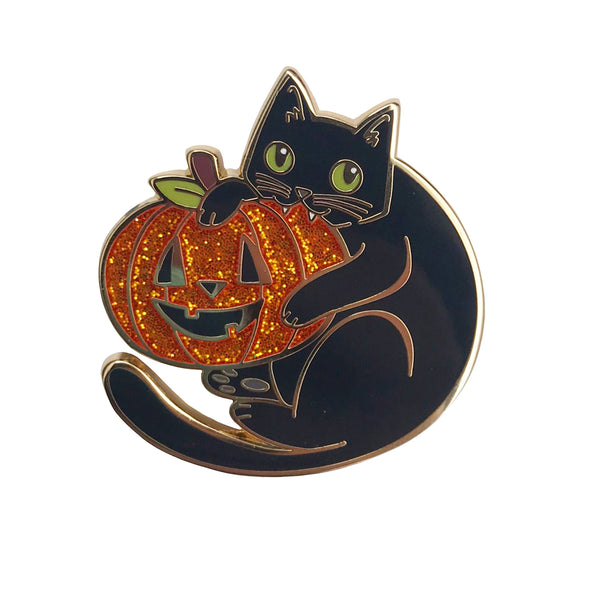Cat and Pumpkin Enamel Pin with Glitter
