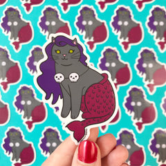 Halloween Mermaid Cat Vinyl Sticker Grey with Skulls