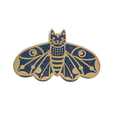 Rainbow Black Glitter Moth Cat Wings Down enamel pin SALE