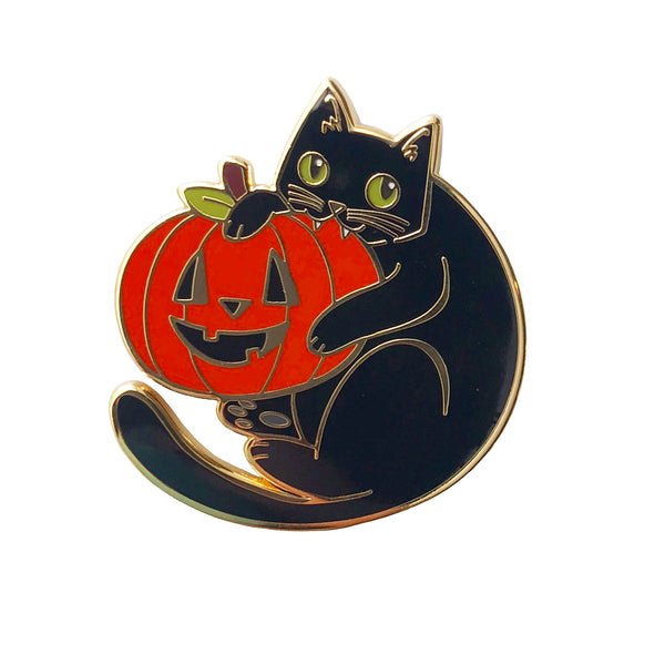Cat and Pumpkin Enamel Pin