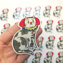 Killer Clown Cat Vinyl Sticker