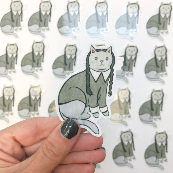 Wednesday Cat Vinyl Sticker