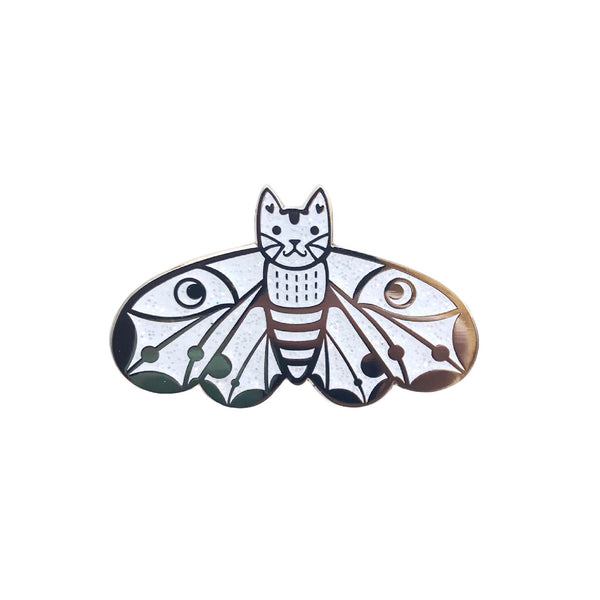 Moth Cat Enamel Pin White Glitter and Gold