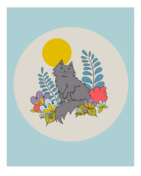 Grey Cat and Flowers