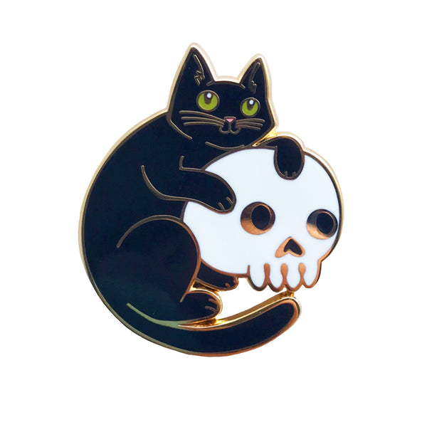 Cat and Skull Enamel Pin