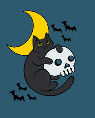Halloween Cat and Skull