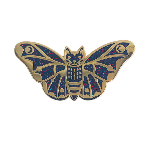 Moth Cat Enamel Pin Black Rainbow Glitter and Gold