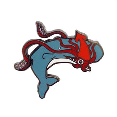 Squid and Whale Gunmetal enamel pin SALE