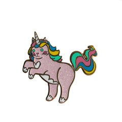 Unicorn Cat Enamel Pin Pink