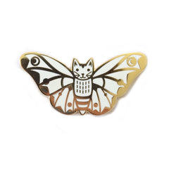 White Moth Cat Wings Up enamel pin SALE