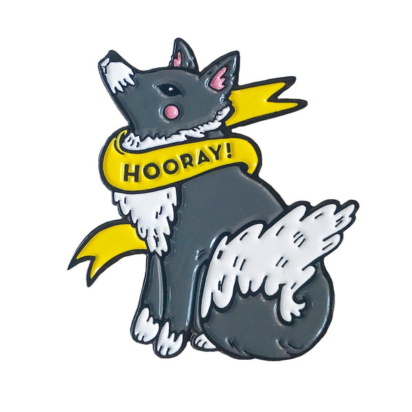 Hooray Wolf Enamel Pin