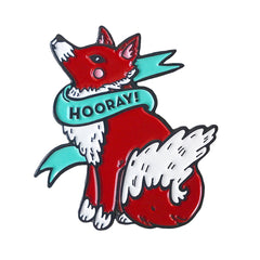 Hooray Fox Enamel Pin