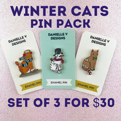 Winter Cats Pin Pack 3 for $30