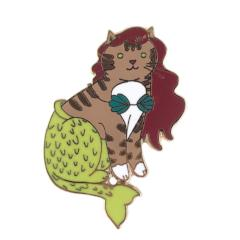 Mermaid Cat Pin Magenta
