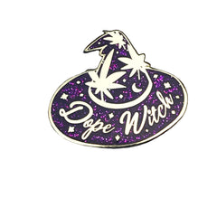 Dope Witch Enamel Pin Purple Glitter