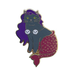 Halloween Mermaid Cat Enamel Pin - Grey with Skulls