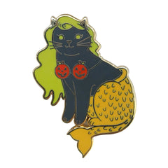 Halloween Mermaid Cat Enamel Pin - Dark Grey with Pumpkins
