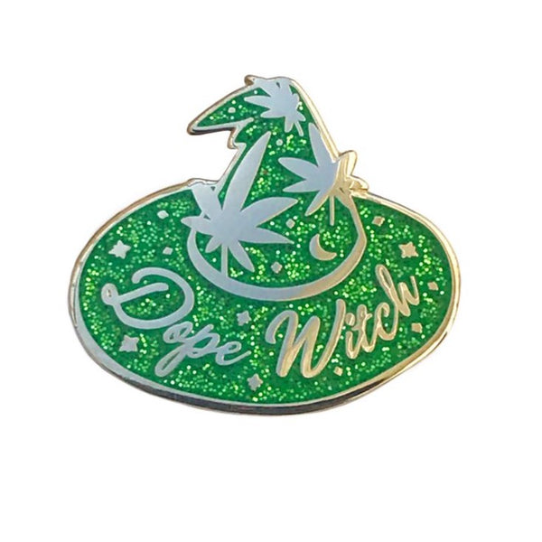 Dope Witch Enamel Pin Green Glitter
