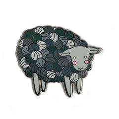Grey Yarn Sheep gunmetal enamel pin SALE
