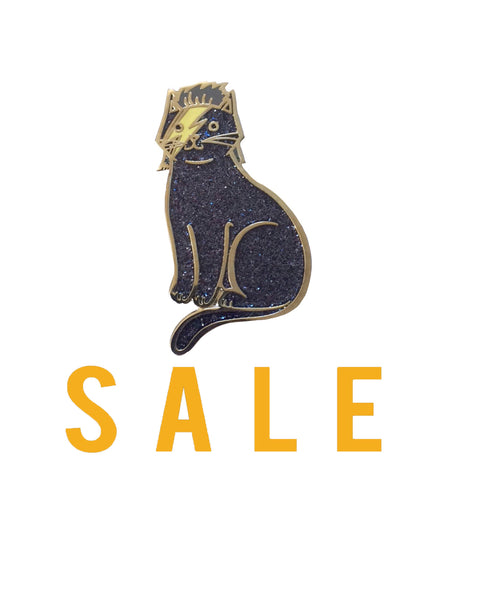 Blackstar Bowie Cat Blue/Black Glitter enamel pin SALE