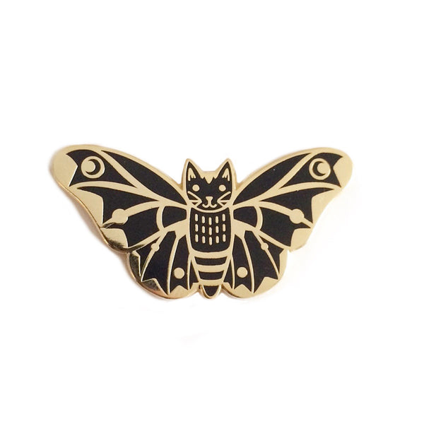 Moth Cat Enamel Pin