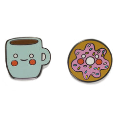 Coffee and Doughnut Enamel Pins set