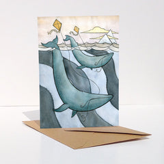Blue Whales Flying Kites Card