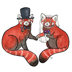 Red Panda Wedding Card- Red Panda Art card - from original watercolor painting - Red Panda greeting card - wedding card